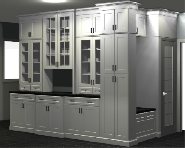 computer rendering of buffet wall and boot bench created from semi custom cabinets