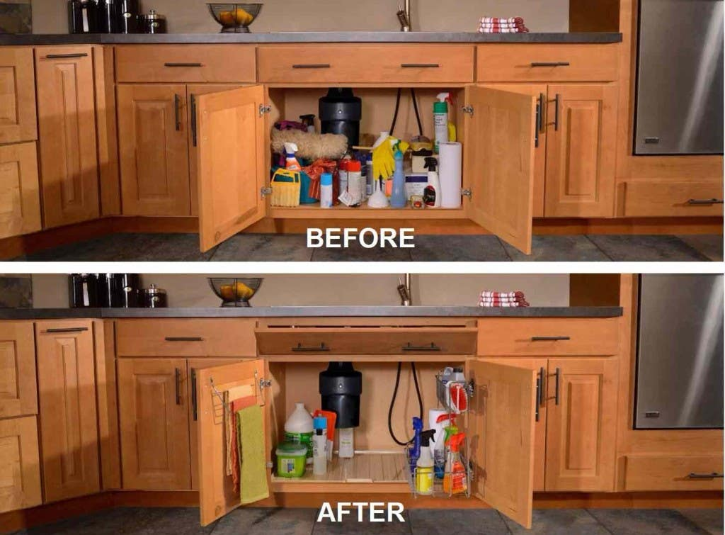 sink base cabinet with doors open in before image has piles of clutter in after image is well organized neat and clean