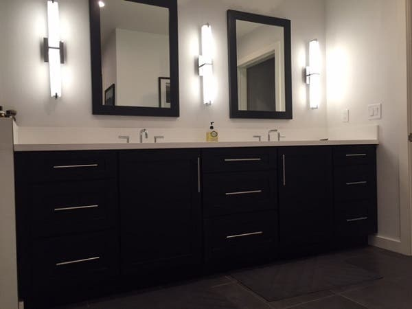 black shaker vanity in southern california contemporary craftsman home