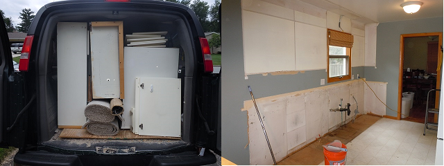 used white cabinets in back of van and kitchen with cabinets torn out ready for new cabinets and appliances