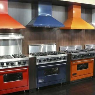 Viking pro ranges in red, blue and orange