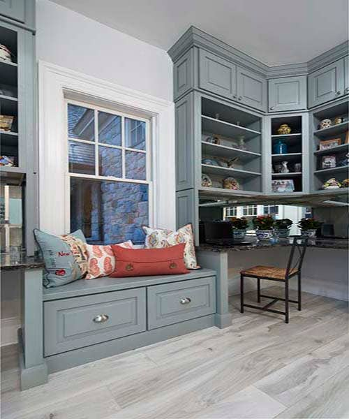 Custom drawer bench window seating in CliqStudios Cambridge style painted in Harbor.
